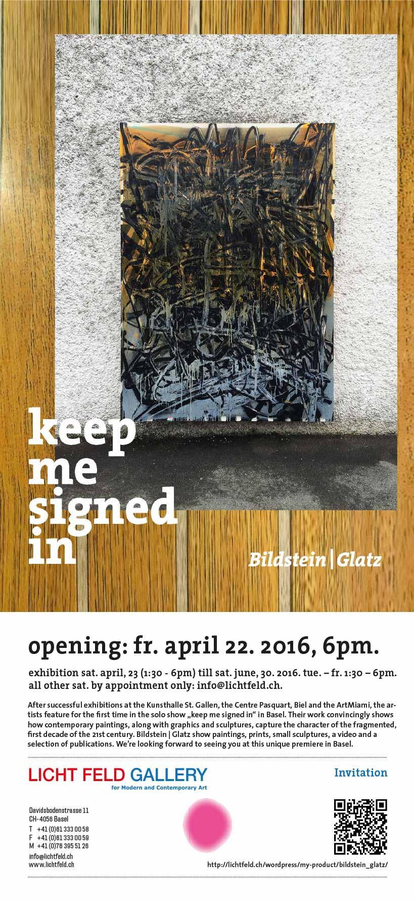 Exhibition Bildstein | Glatz @ LICHT FELD Gallery April 22, 2016