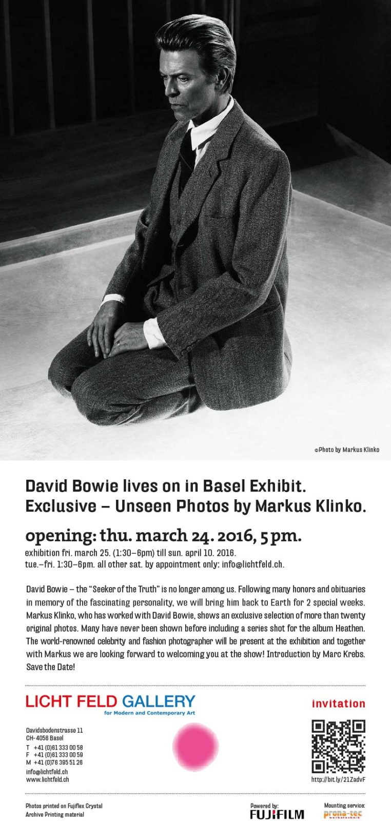 David Bowie – Unseen Photos by Markus Klinko @ Licht Feld Gallery Basel